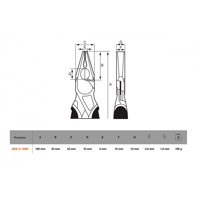 "Alicate Universal ERGO™ 6"" Bahco 2628 G-160IP"