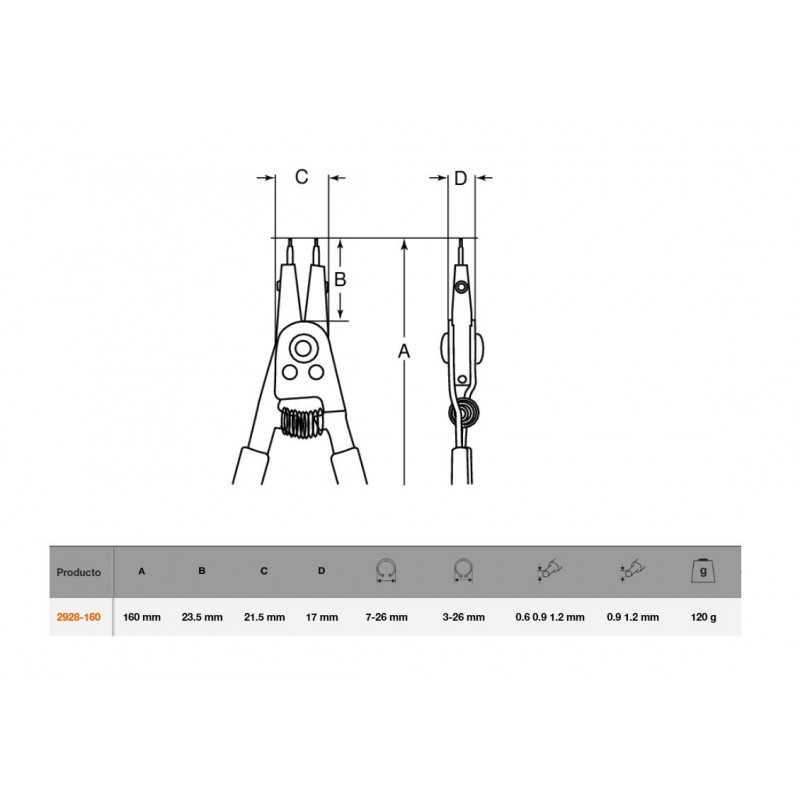 Alicate Reversibles 160 MM Bahco 2928-160