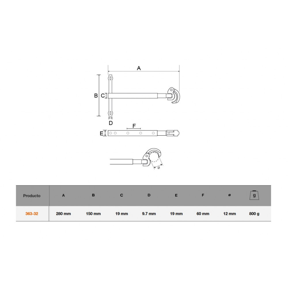 Llave telescópica 4 Posiciones para Tuercas de Lavabo 10-32 MM Bahco 363-32