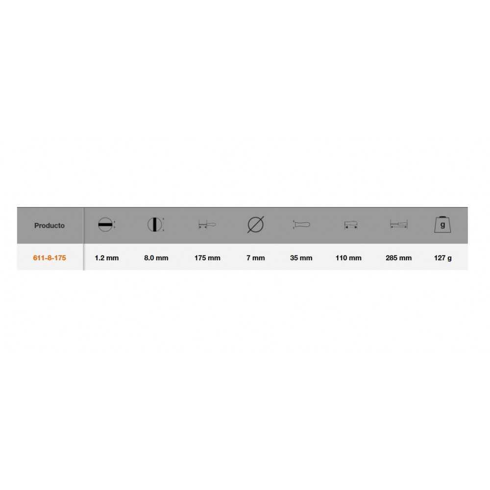 Destornillador de Paleta Cónica 1.2x8x175 MM Bahco 611-8-175