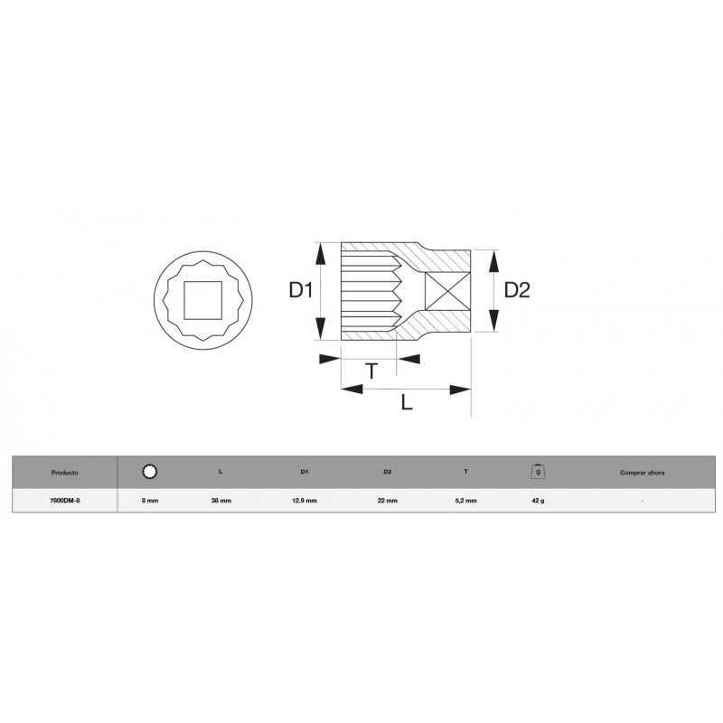 """Dado Poligonal 1/2"""" x 8mm Bahco 7800DM-8"""