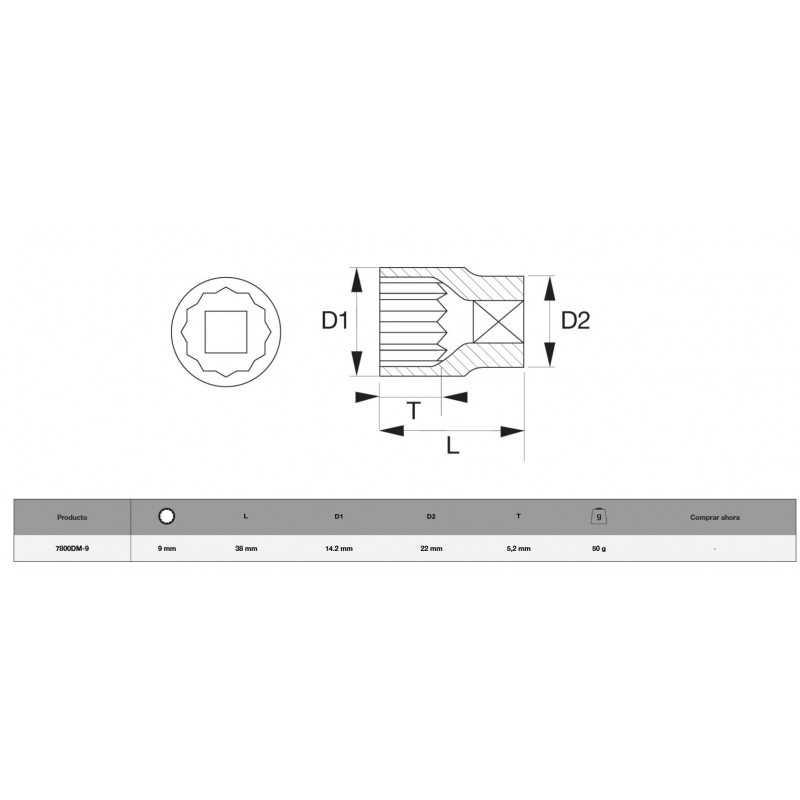 """Dado Poligonal 1/2"""" x 9mm Bahco 7800DM-9"""