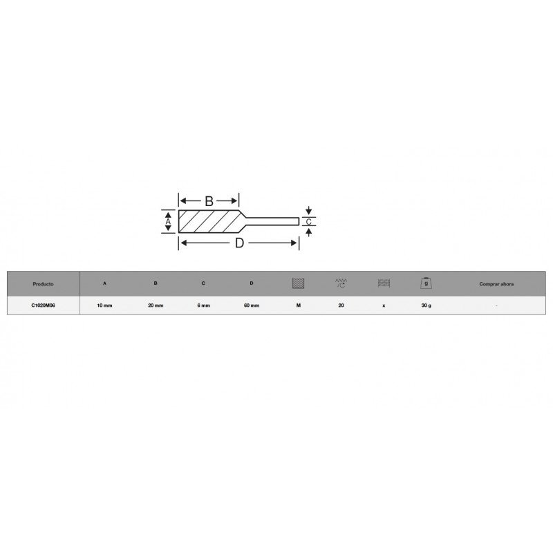 Lima Rotativa cilíndrica 10x20 mm Bahco C1020M06