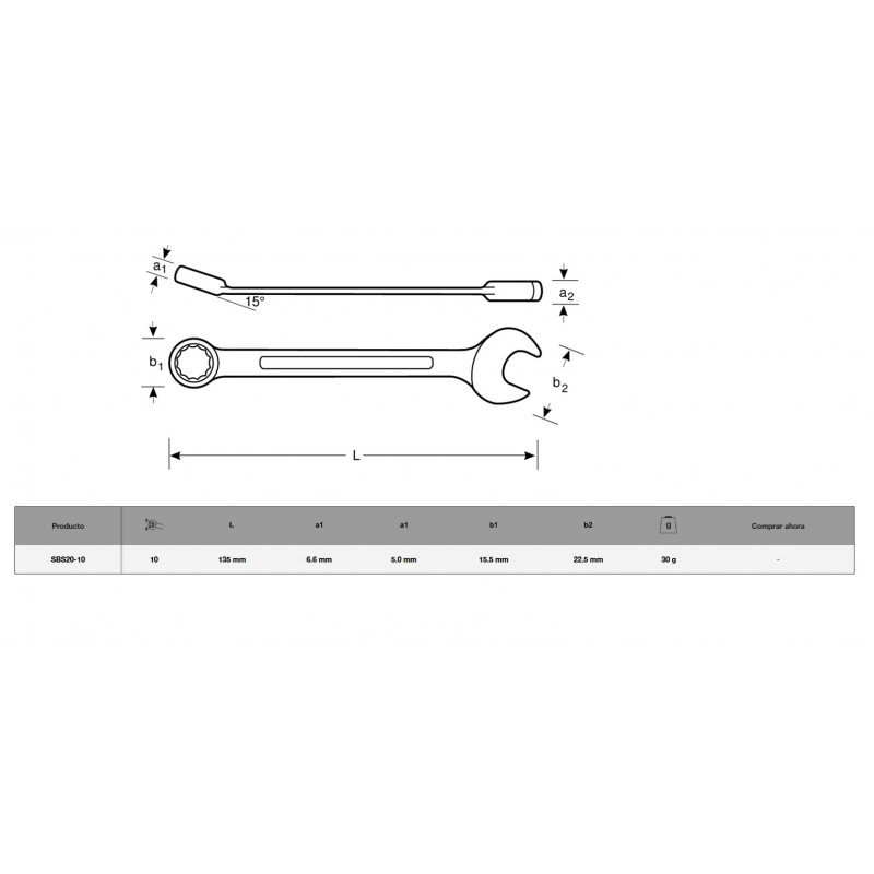 Llave Punta Corona plana 10 x 135 mm Bahco SBS20-10