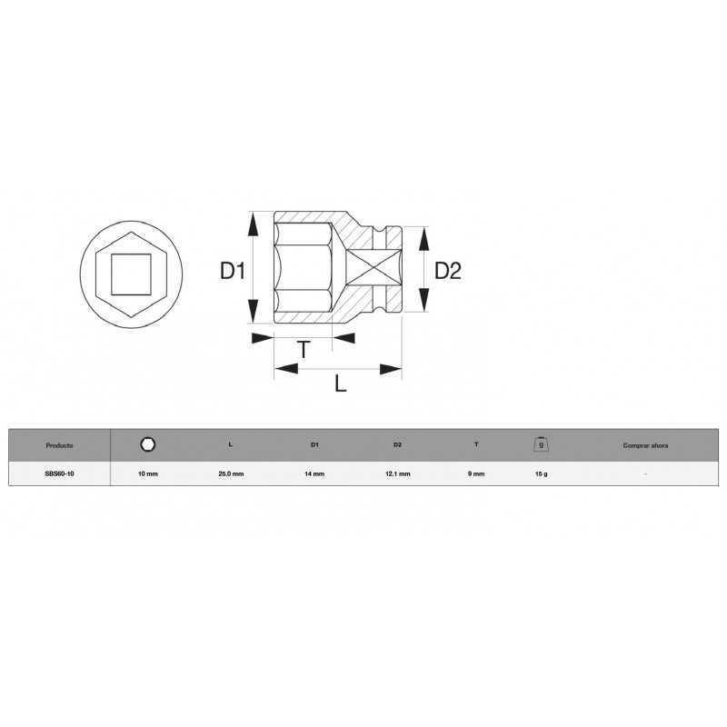 """Dado Hexagonal 1/4"""" x 10 mm Bahco SBS60-10"""