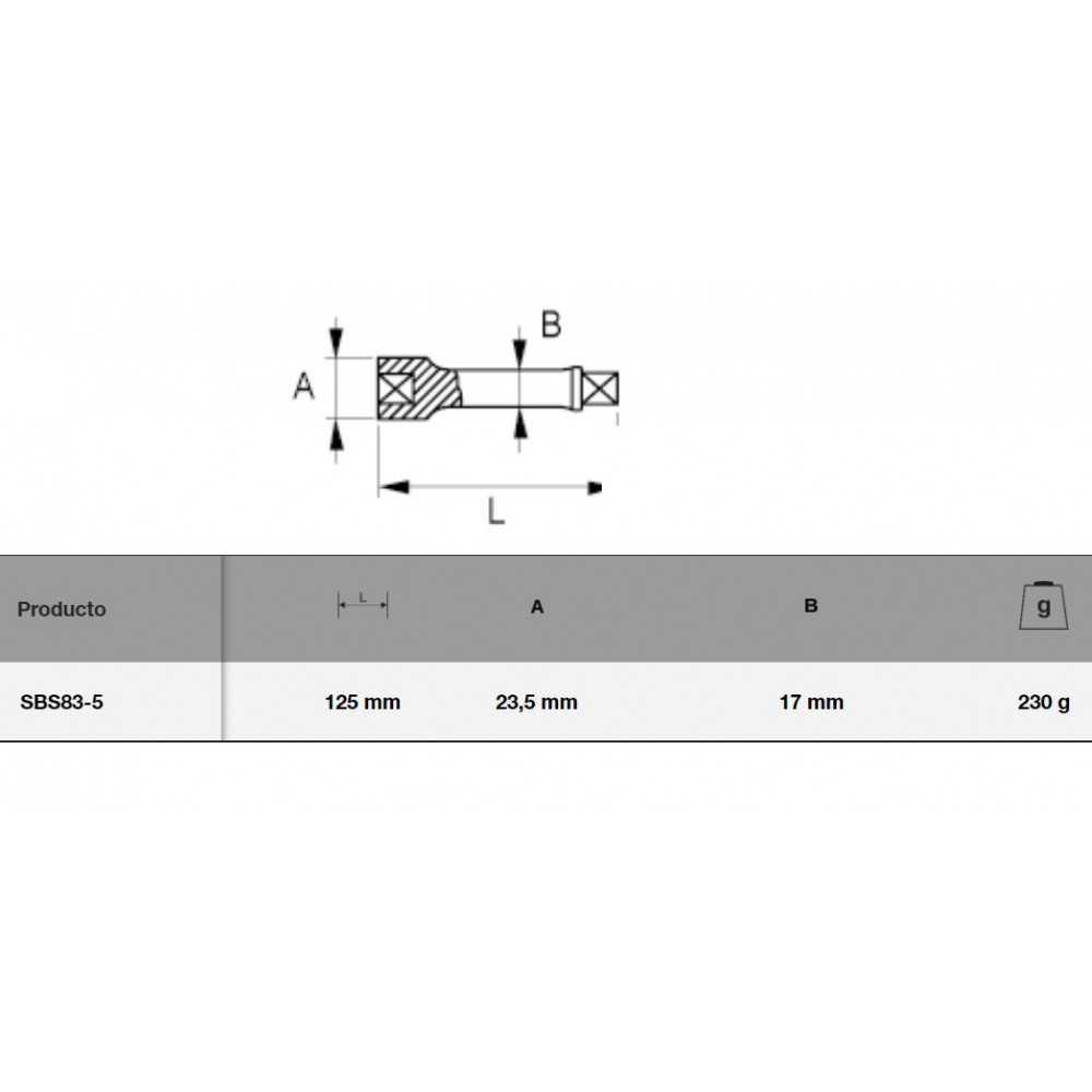 """Barra Extensión 1/2"""" 125MM Bahco SBS83-5"""