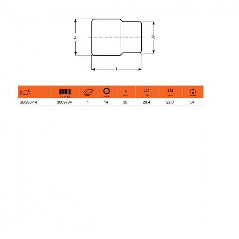 """Dado HEXAGONAL 1/2"""" X 14MM Bahco SBS80-14"""