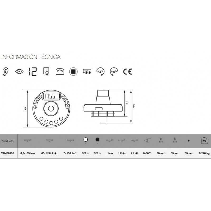 """Adaptador Electrónico DE LLAVE DE TORQUE PARA CHICHARRA 3/8"""" Bahco TAM38135"""