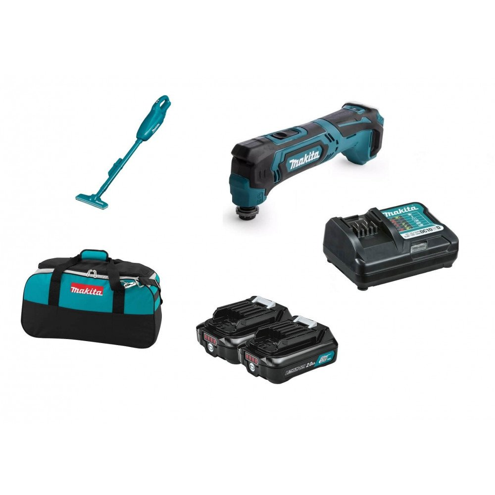 Combo Aspiradora 10.8V (12V max)+ Multiherramienta + 2 Baterías 2.0 Ah +Cargador+Bolso Makita CLX216AX1