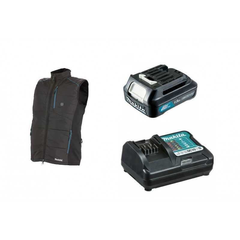 Chaqueta Térmica Talla L CV102DZ + Batería 12V MAX 1.5 Ah BL1015 + Cargador DC10WD Makita CV102DZL-1
