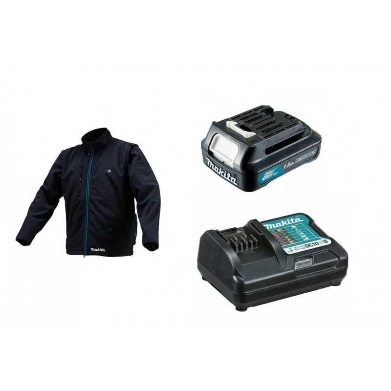 Chaqueta Térmica Talla L CJ102D + Batería 12V MAX 1.5 Ah BL1015 + Cargador DC10WD Makita CJ102DZL-1