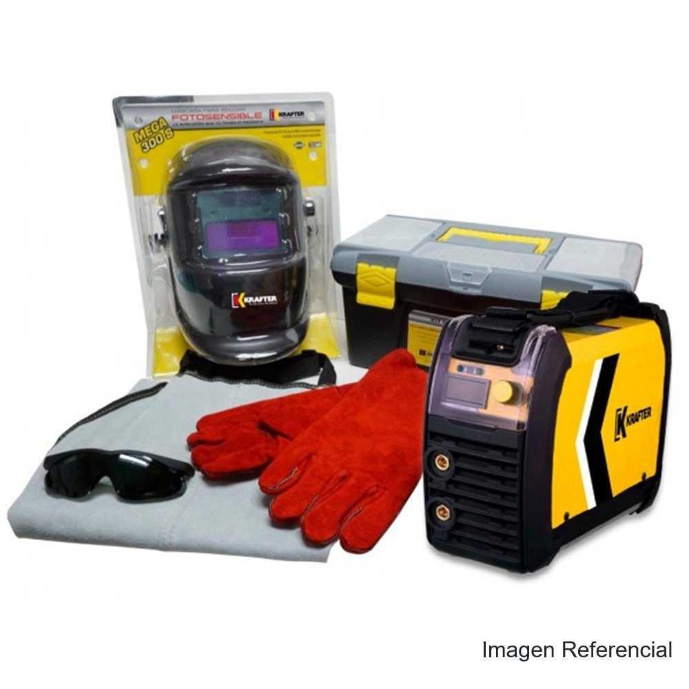 Soldadora Inverter 200A + Mascara Fotosensible+Kit Seg. Krafter 200IGBT + Mascara