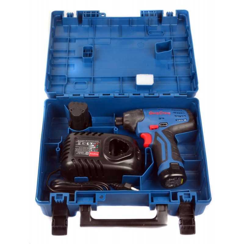 """Atornillador de Impacto Inalámbrico 12 V 1/4"""" Hex + Baterías 2.0 Ah + Cargador. DONGCHENG DCPL02-8"""