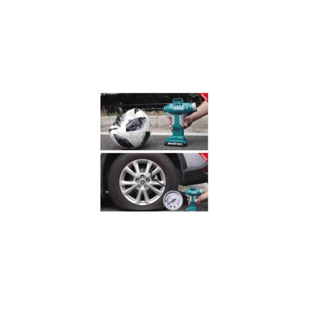 Compresor de Aire Inalámbrico para Auto 20V 150PSI/10BAR Sin batería ni cargador Total Tools TACLI2001