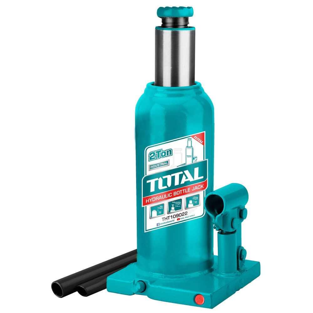 Gata hidráulica tipo botella 2 Ton + Válvula Seguridad. Total Tools THT109022
