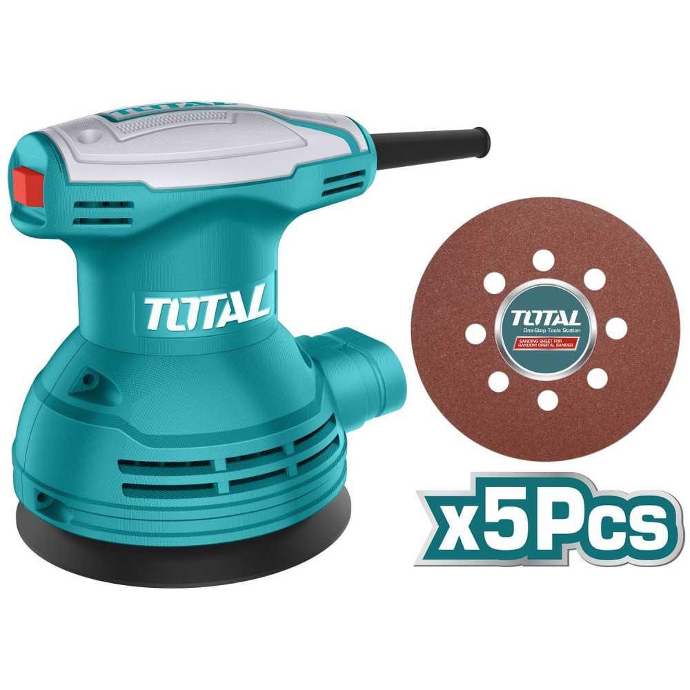 Lijadora Roto Orbital 320w 125mm + Set discos lijas 5pzs Total Tools TF2031256