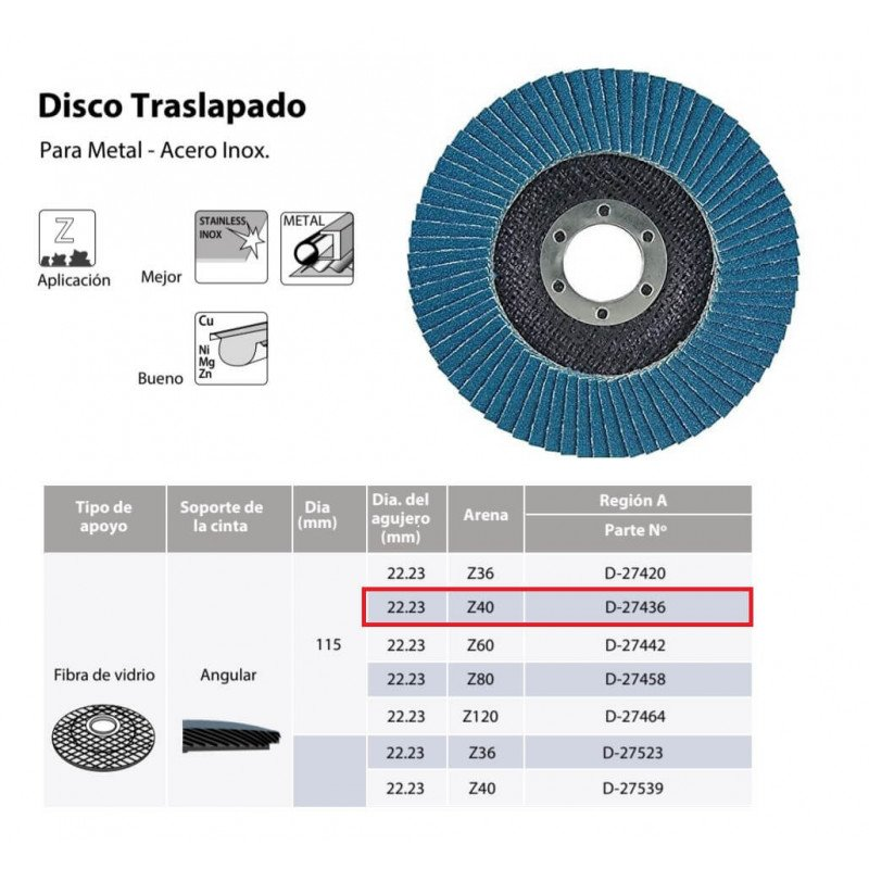 Disco Flap 115x22.23mm Grano 40 Zircón / Metal y Acero Inoxidable Makita D-27436