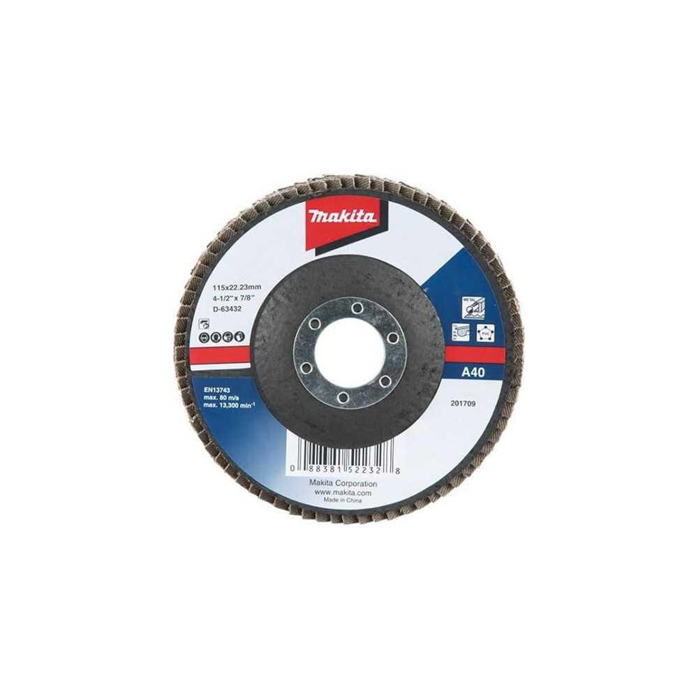 Disco Flap 115x22.23mm Grano 40 Óxido de Aluminio / Metal Ángulo Makita D-63432