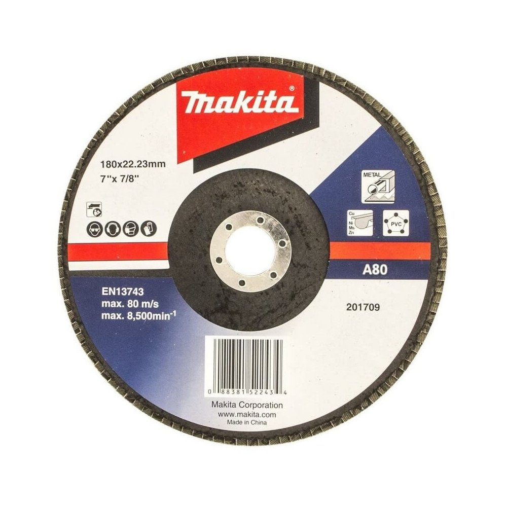 Disco Flap 180x22.23mm Grano 80 Óxido de Aluminio / Metal Ángulo Makita D-63535