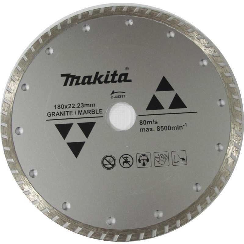 Disco Diamantado Turbo Ondulado 180x22.23mm Para Granito / Mármol Makita D-44317