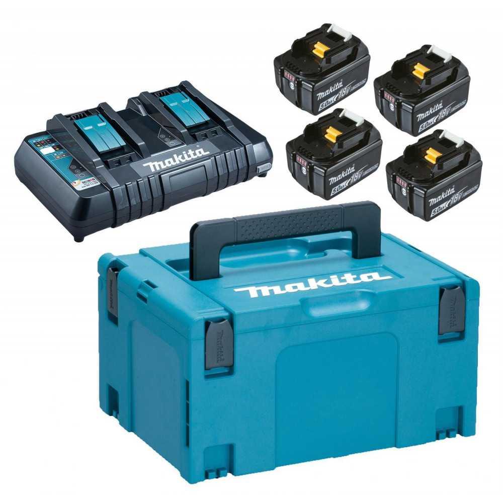 Kit MKP3PT184 4 Baterías 18V 5Ah BL1850B + Cargador Doble DC18RD + Makpac Makita 197626-8