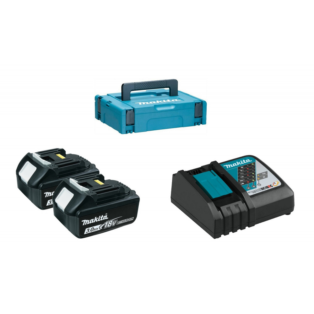 Kit 2 Baterías 18V 3.0 Ah BL1830 + Cargador Rápido 18V DC18RC + Makpac Makita 197952-5