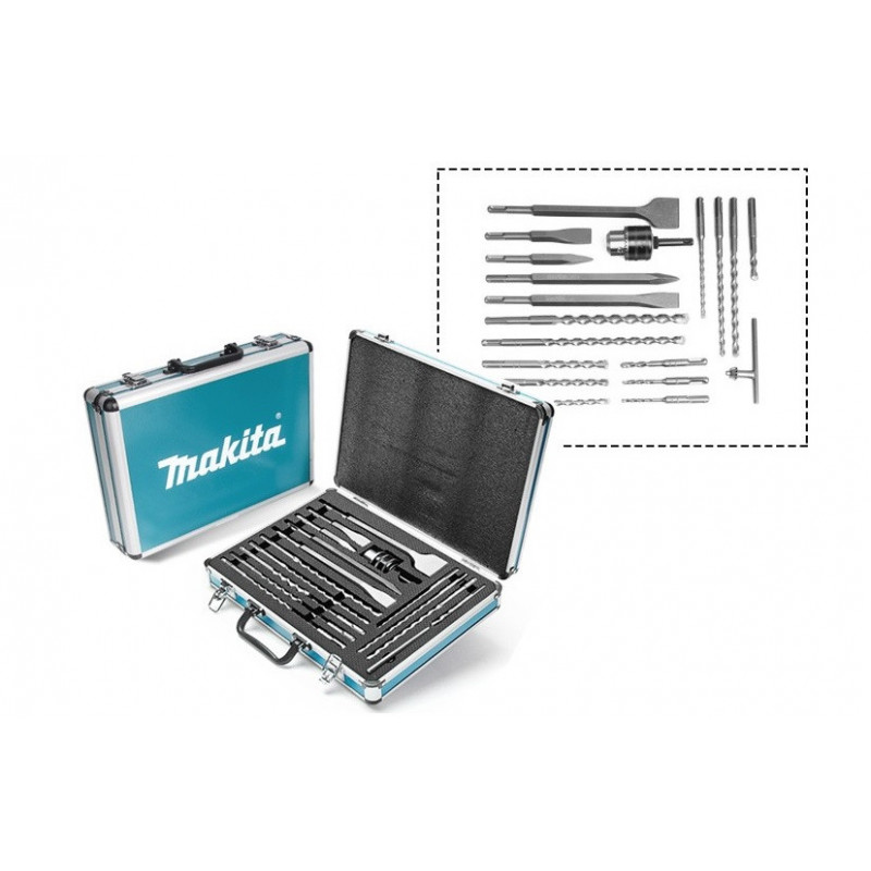 Set Accesorios 18 Und 2 Puntos+3 Cinceles+12 Brocas+Mandril 13mm+Adapt.C/Llave+Caja Makita D-71196