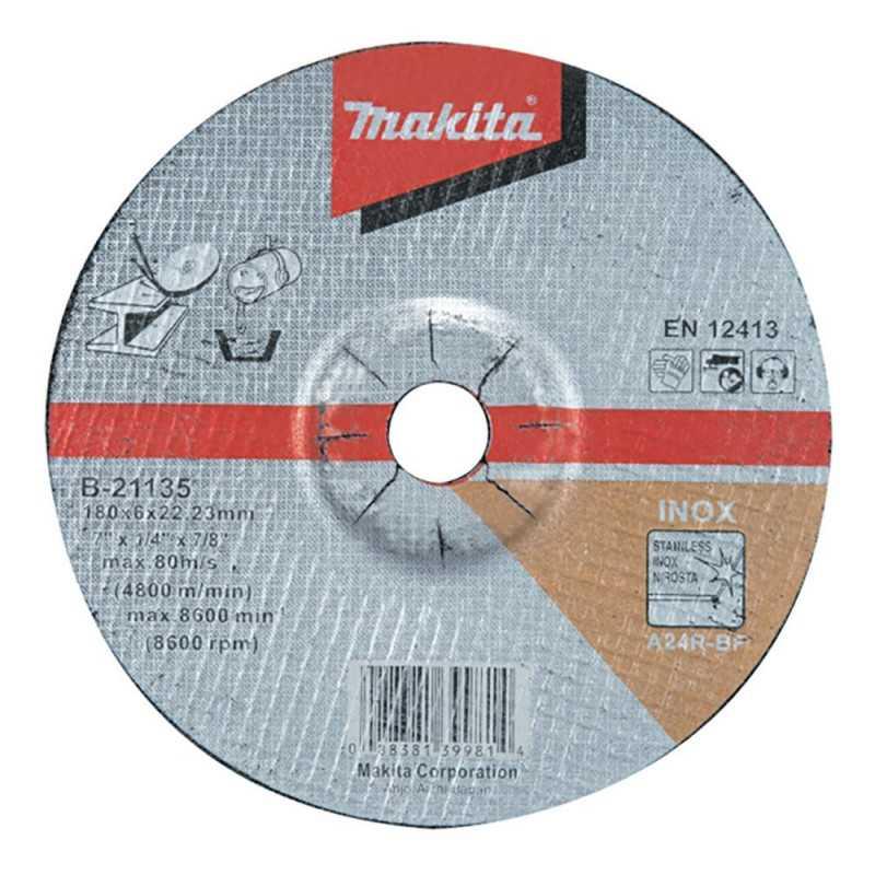 Disco Desbaste Acero Inox 180x6x22.23MM A24R para trabajo pesado Makita B-21135
