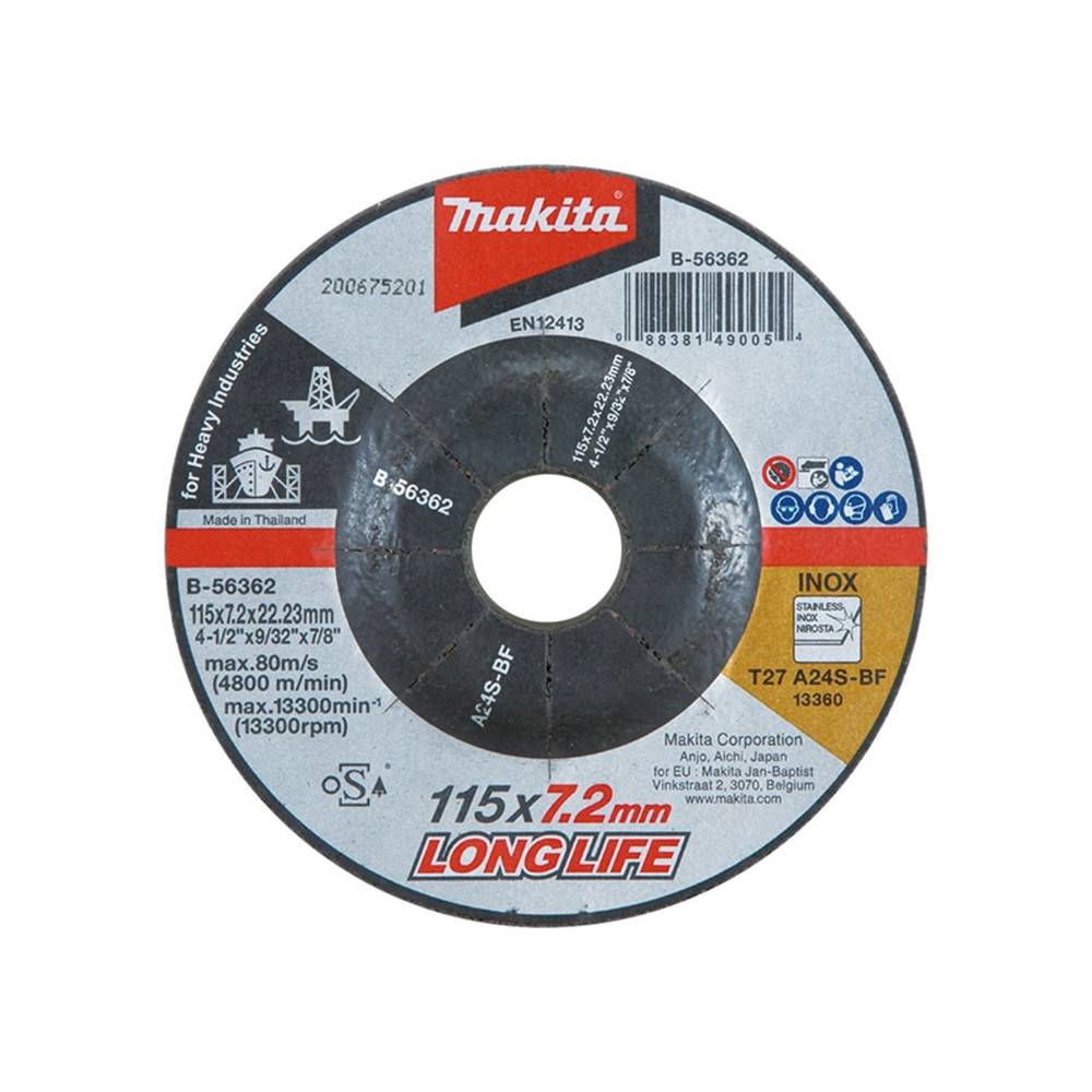 Disco Desbaste Metal / Inox 115x7.2x22.23MM A24S Trabajo Pesado Makita B-56362