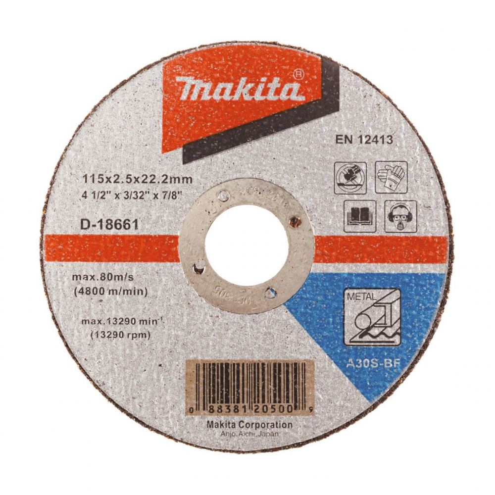 "Disco Corte Metal 4-1/2"" / 115x2.5x22.23MM A30S-BF Recto Makita D-18661"