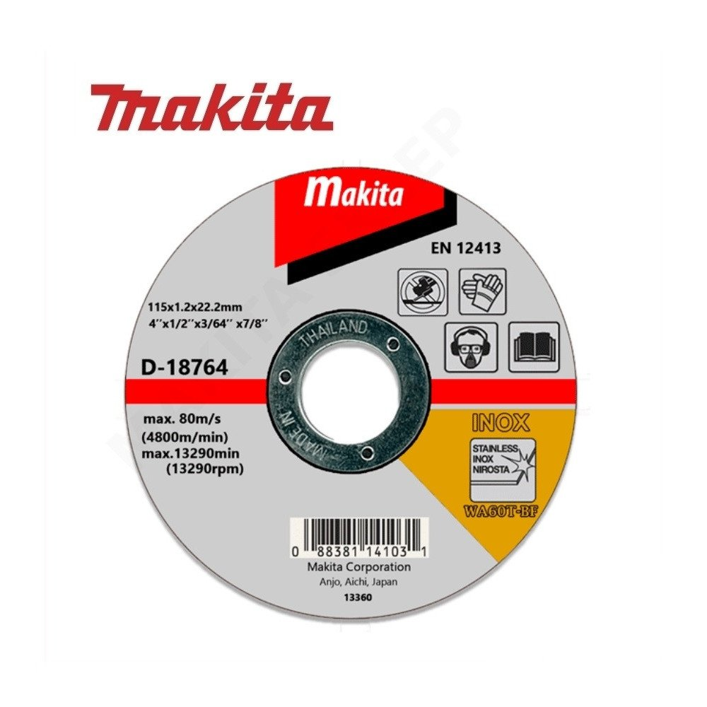 "Disco Abrasivo Corte Acero Inox 4-1/2"" /115x1.2x22.23MM WA60T Makita D-18764"