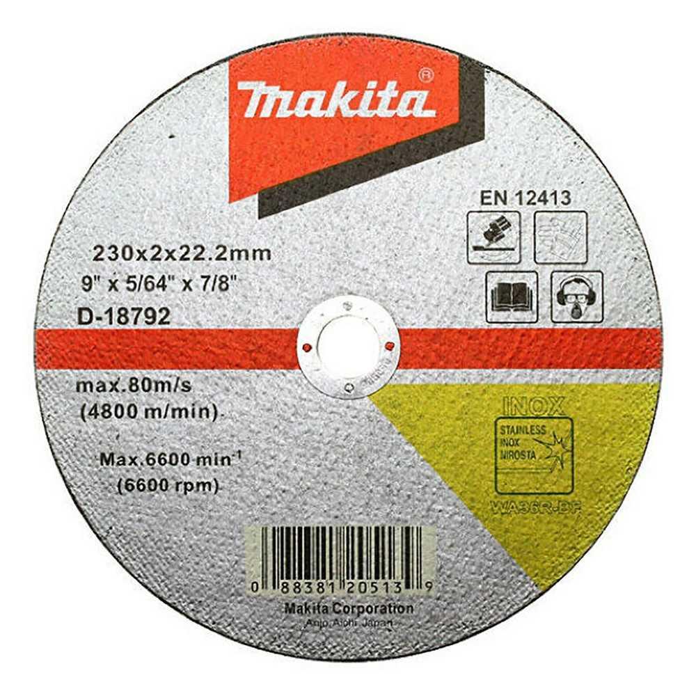 "Disco Abrasivo Corte Acero Inox 9"" / 230x2x22.23MM WA36R-BF Makita D-18792"