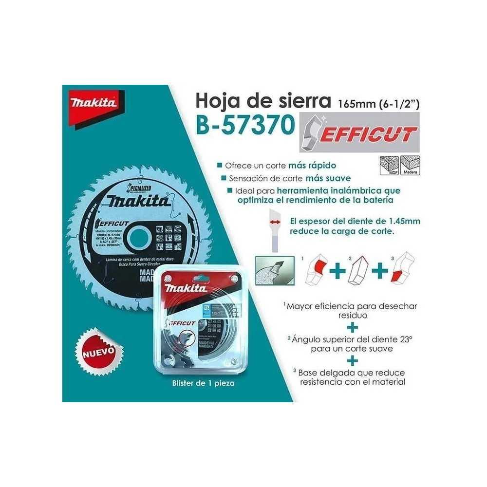 "Disco Sierra 6-1/2"" 165x20MM 56D Para Madera/MDF/Laminete EFFICUT Makita B-57370"