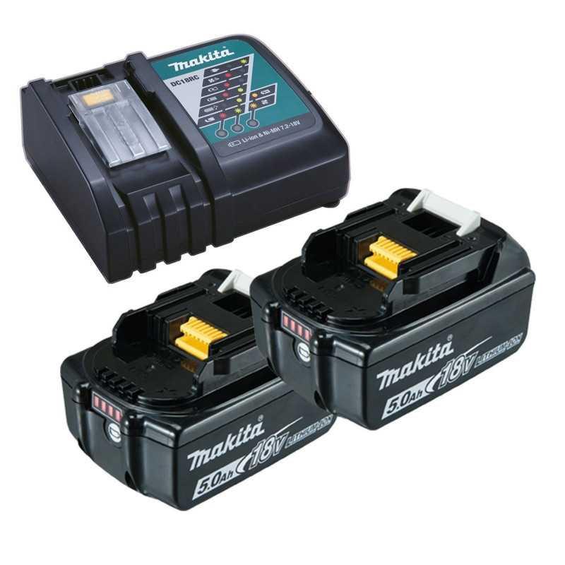 Cortasetos Inalámbrico 500MM + 2 Baterías 18V 5Ah BL1850B + Cargador DC18RC Makita DUN500WRTE