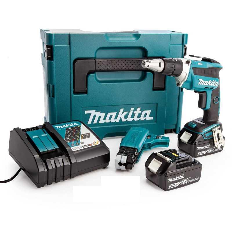 Atornillador Inalámbrico 18V + 2 baterías 3.0Ah+Cargador+Makpac Makita DFS452FJX2
