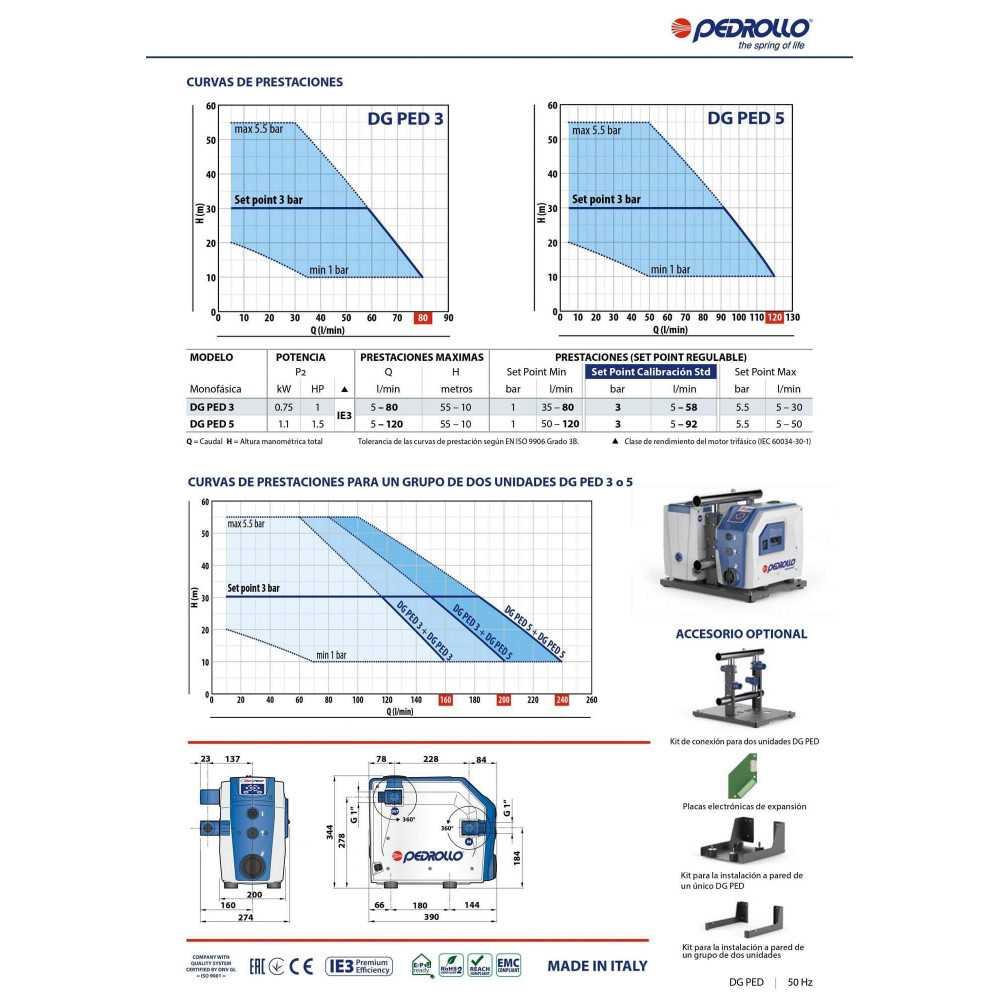 """Sistema de presurización Automático con Inversor 1""""x1"""" 1HP 220V DG PED 3 Pedrollo 109023"""