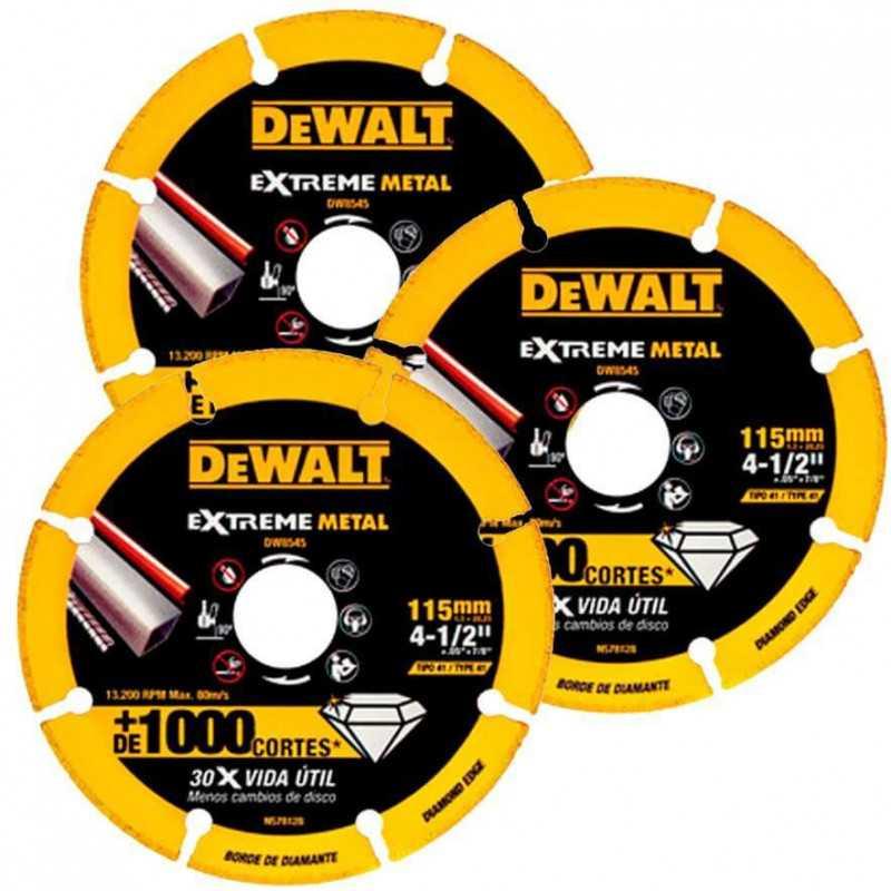 "Set Discos Corte Metal Diamantado Extreme Metal 3 pzs 4-1/2"" (115mm) DeWalt DW8545 X3"