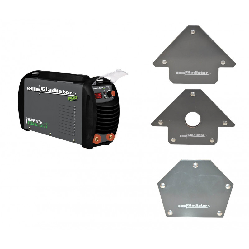 Soldadora  Inverter Arco Manual Gladiator 250 Amp IE 8250/6/220 + Kit Escuadras Magnéticas  Gladiator  MI-GLA-052236_KIT