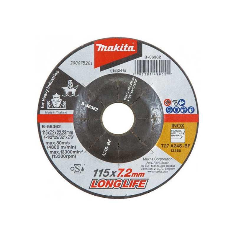 Disco Desbaste Metal/Inox AZ24N 115x7.2x22.23mm HI-Trabajo Pesado Makita B-56409