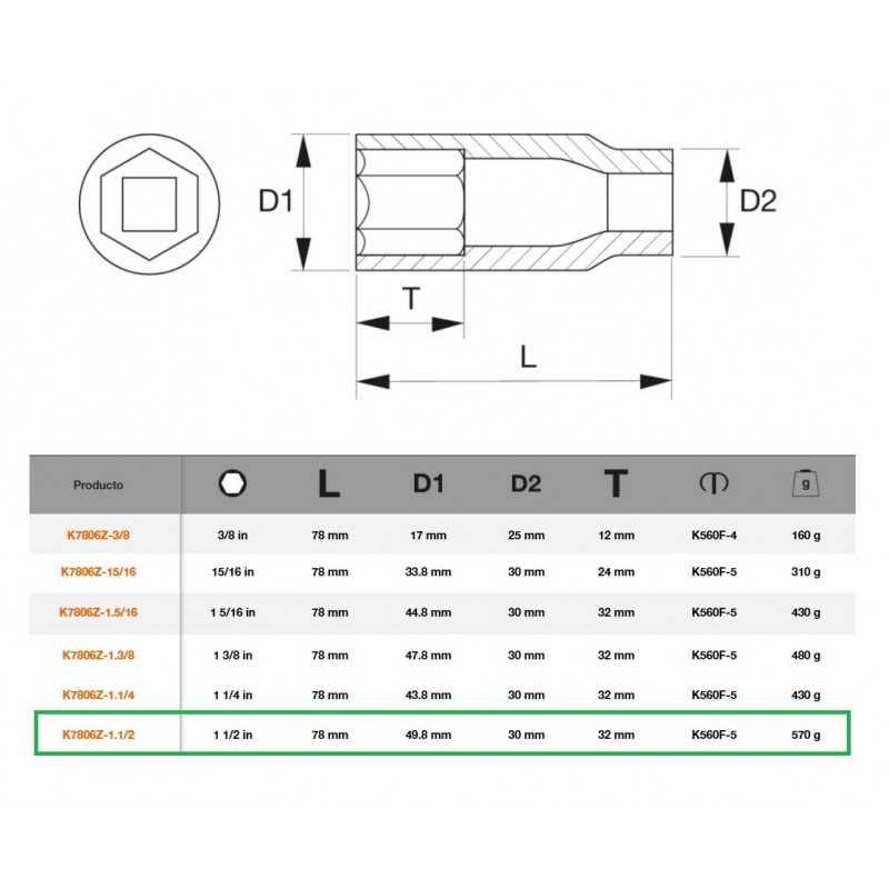 """Dado de Impacto 1/2""""x1.1/2"""" Serie Larga Bahco K7806Z-1.1/2"""