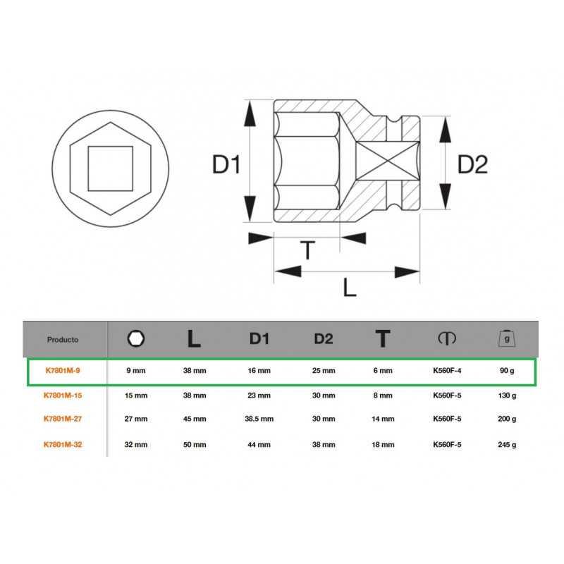 "Dado de Impacto Hexagonal 1/2""x9mm Bahco K7801M-9"