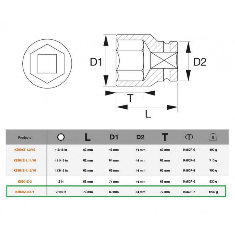 """Dado de Impacto Hexagonal 3/4""""x2.1/4"""" Bahco K8901Z-2.1/4"""