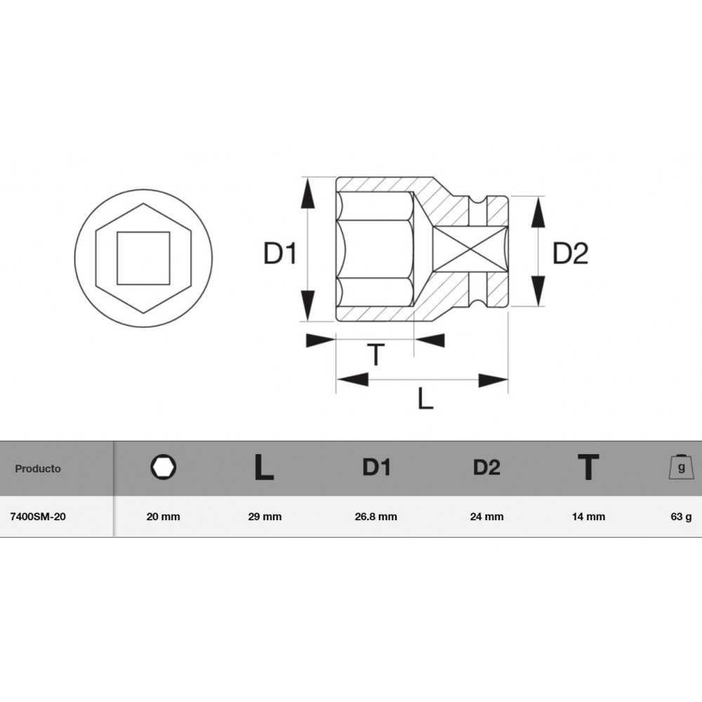 "Dado Hexagonal 3/8"" x 20 mm Bahco 7400SM-20"
