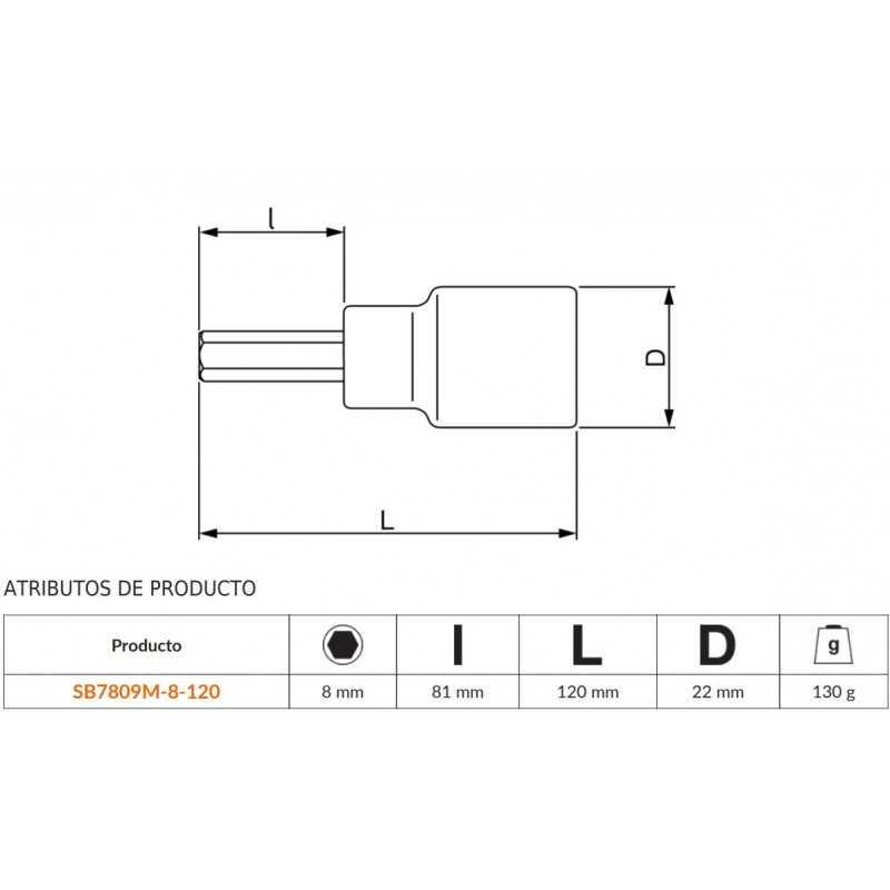 Dado Con Punta de 1/2'' Para Tornillos Bi-hexagonales De 8mm Bahco SB7809M-8-120