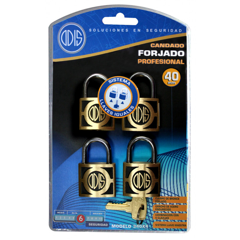 Set Candados 4 pzs 40mm Llaves iguales 340 Odis CAN0000052