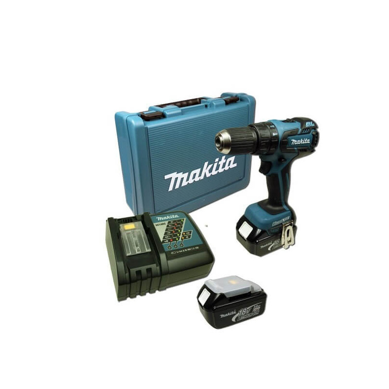 Taladro-Atornillador C/Percusión 13 mm - 2 vel variable (max Torque 45 Nm) 1,5 kg Makita DHP459RFE