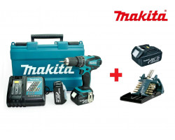 Taladro-Atornillador C/Percusión 13 mm - 2 vel variable (max Torque 50 Nm) 1,6 kg Makita DHP456RFX3