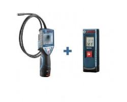 Bosch Camara de inspeccion a bateria GIC 120 C + Medidor de Distancia GLM 15