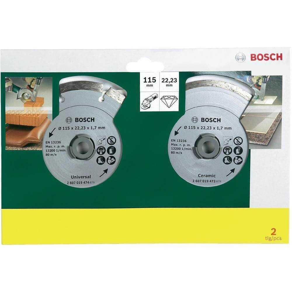 """Set de 2 discos diamantados (Seg y Cont) de 4 1/2"""" (uso normal) Bosch 2607019478"""