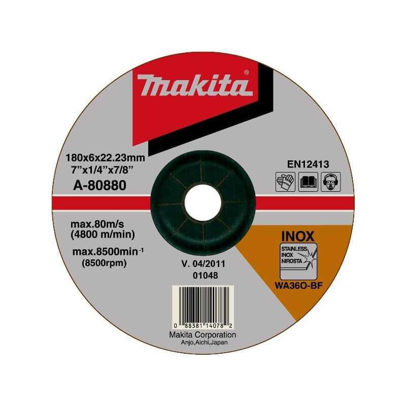 Disco Rectificador para Acero Inoxidable 180x6x22 Makita A-80880